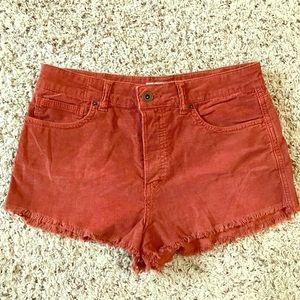 Free People burnt orange corduroy shorts